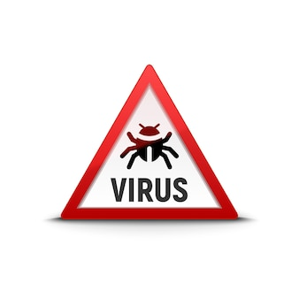 Computer virus sign warning trojan. security internet virus alert infection.