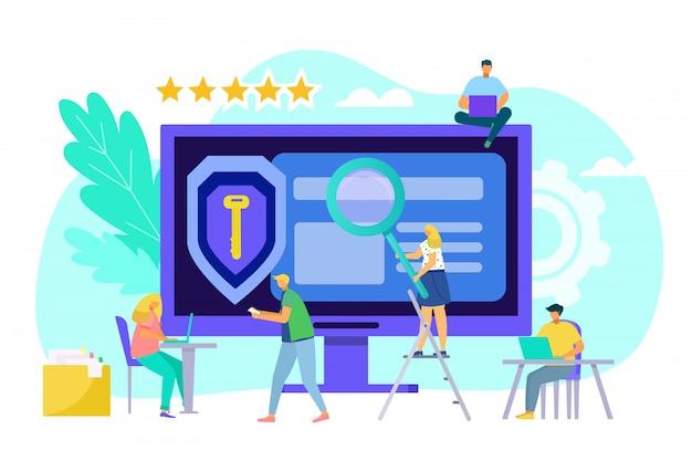 コンピューターのwebデータ保護の概念、イラスト。画面上のテクノロジーで保護された情報、ビジネスプライバシーネットワーク。ビジネスの安全性、インターネットのサイバー保護と人々。