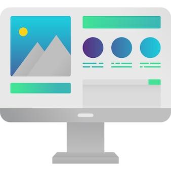 Компьютер веб-дизайн значок векторного графического содержимого