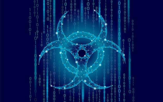 Computer web virus attack danger, biohazard sign epidemia alert data