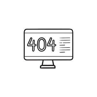 Computer with 404 error page hand drawn outline doodle icon. page not found, browser warning concept