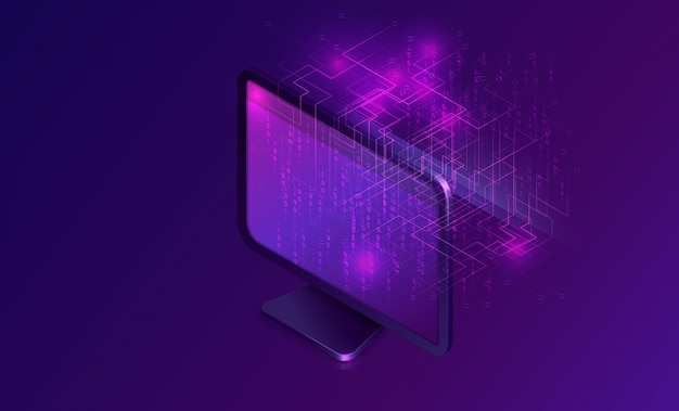 Computer with big data stream isometric banner
