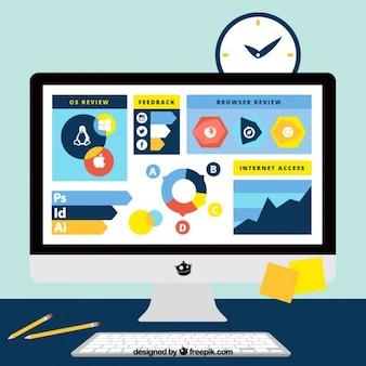 ビジネスインフォグラフィック要素を持つコンピュータ