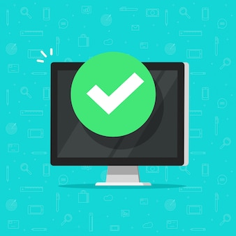 Computer with checkmark or tick notification  illustration flat cartoon design clipart