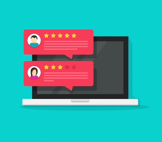 Computer with customer review rating chat messages  flat cartoon