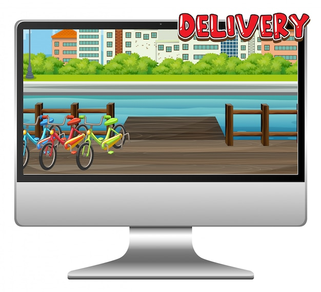 Компьютер с логотипом доставки