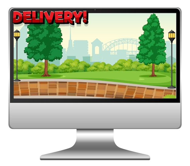 Computer with delivery logo