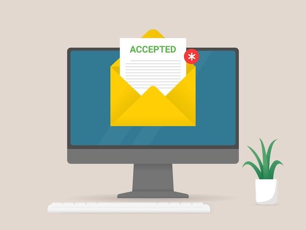 Компьютер с конвертом и бумажным документом на экране принятого документа