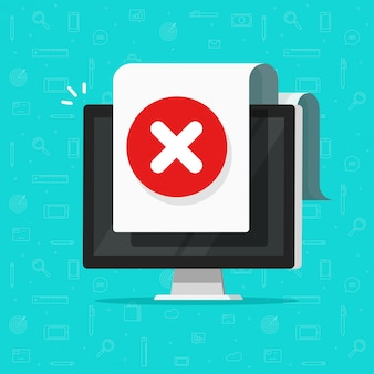 Computer with error document sign alert or pc with warning or failure symbol