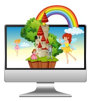 おとぎ話のデスクトップ画面の背景を持つコンピューター