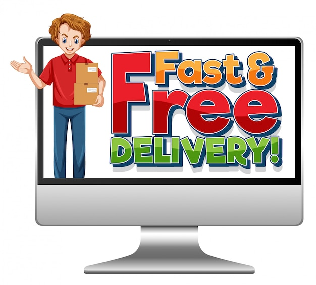 高速で無料の配信ロゴが付いたコンピューター
