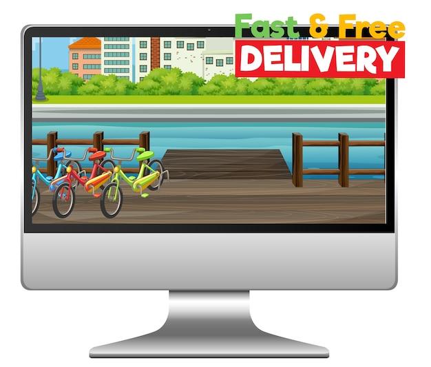 Компьютер с логотипом быстрой и бесплатной доставки