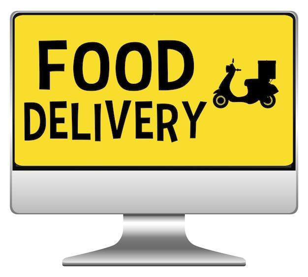 Компьютер с логотипом доставки еды