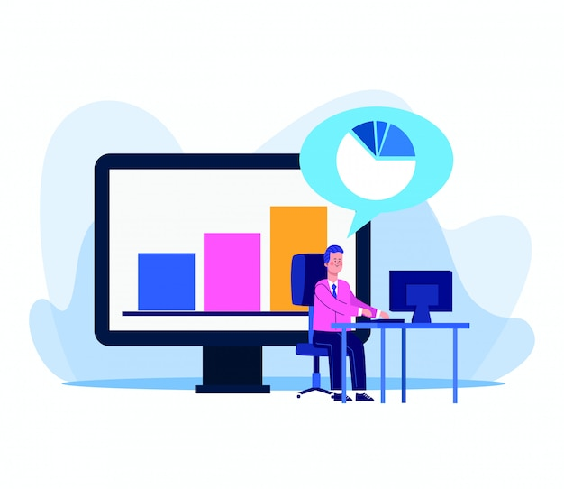 Computer with graphic bar chart and man working at office desk on white