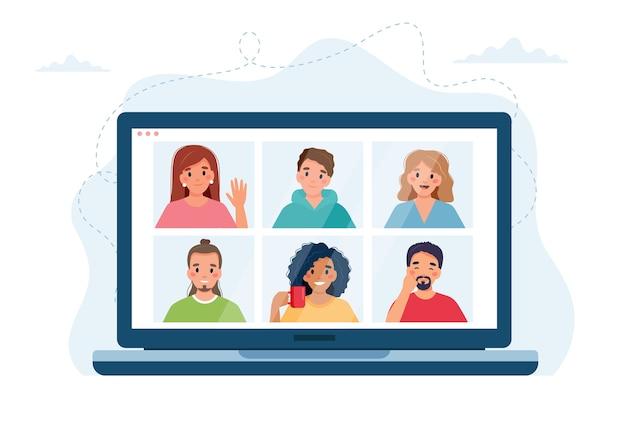 グループ通話をしている人々のグループを備えたコンピュータ。ビデオ会議によるオンライン会議。