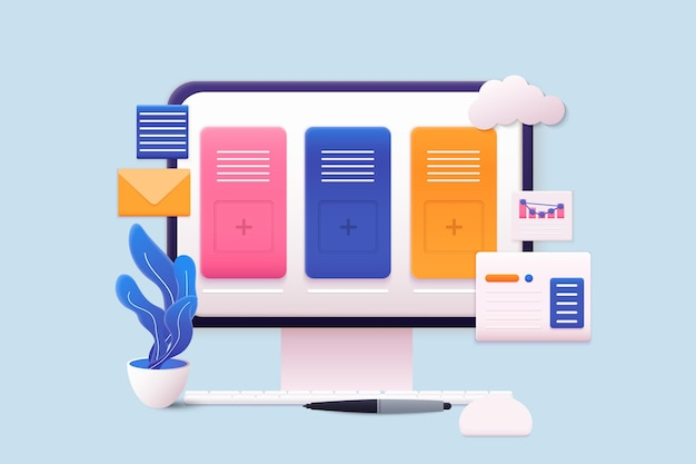 Компьютер с открытыми страницами