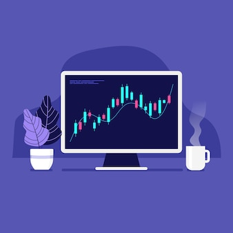 Computer with positive forex chart on desktop with coffee cup.