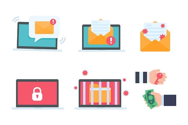 赤い画面のコンピューター。電子メールからの身代金コンピュータウイルス感染の概念