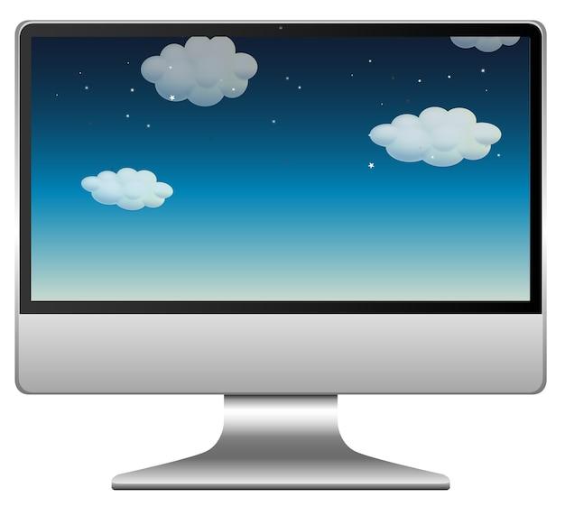 画面デスクトップ上の空とコンピューター