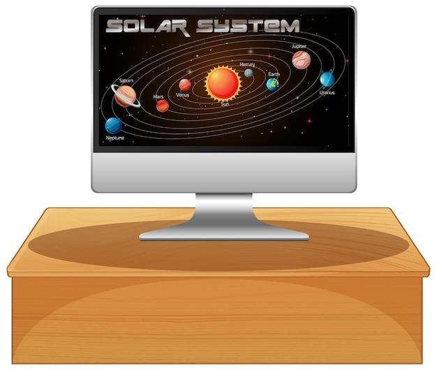 화면에 태양 광 시스템이있는 컴퓨터