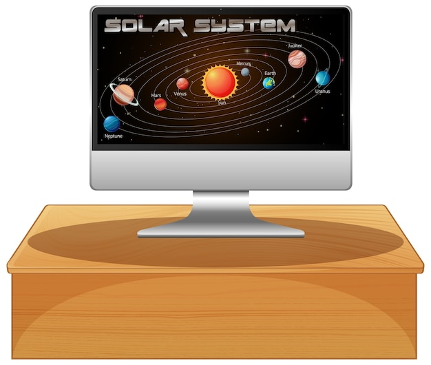 Computer con sistema solare sullo schermo