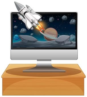 Компьютер с космической сценой