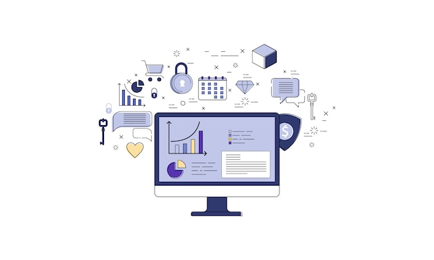 Computer with statistics infographics and set of icons, online business vector