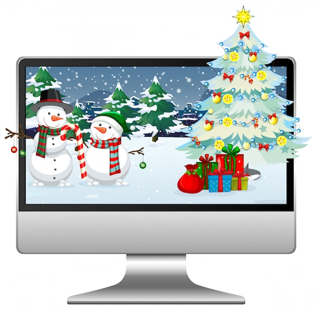 Computer with winter xmas theme desktop background