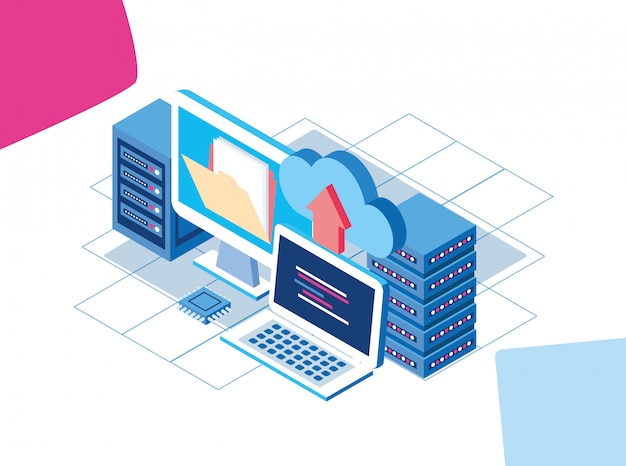 Computers and data center servers with cloud storage and folder