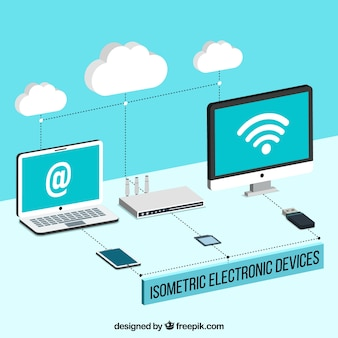 Computers and other devices with wifi in isometric style