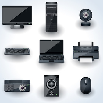 Computers and peripherals vector icons. realistic miniatures collection