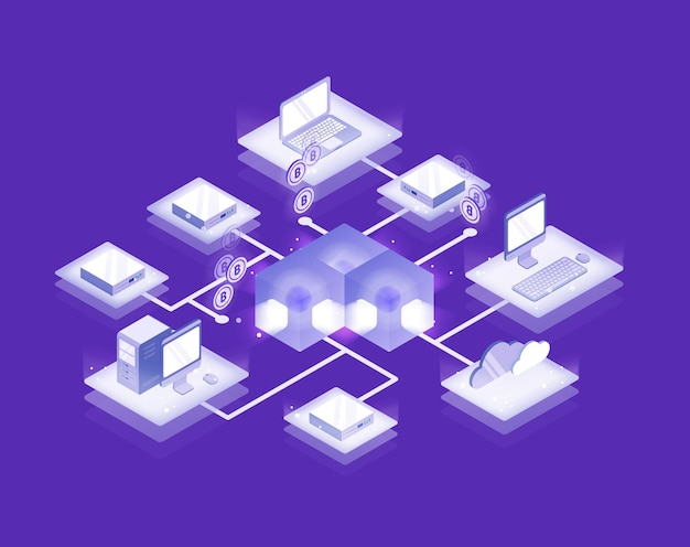Computers and servers connected into blockchain formation, bitcoin network