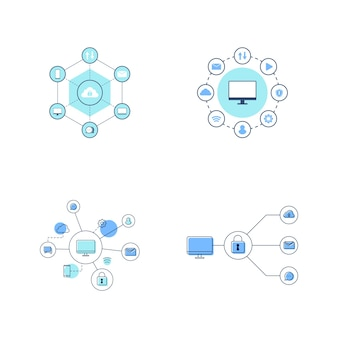 Вычислительная сеть векторный icon дизайн иллюстрации шаблон