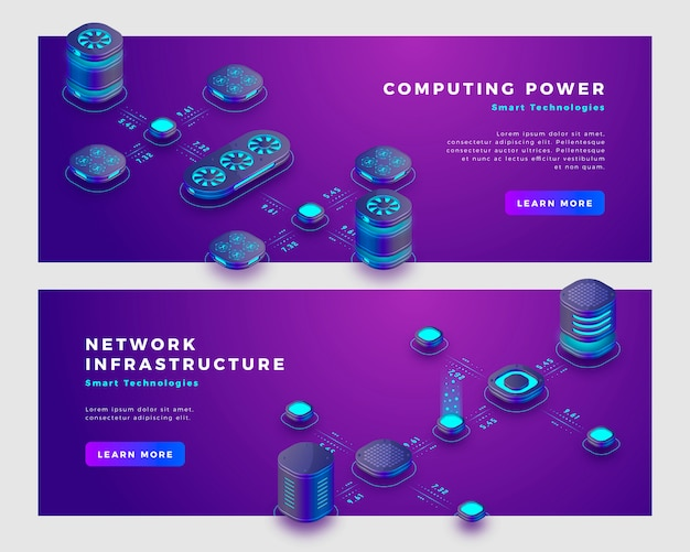 Computing power and database concept banner template.