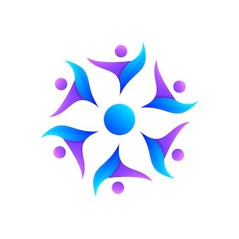 コミュニティのロゴデザイン。人のロゴのベクトル。カラフルなロゴ。