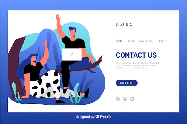 Conatct us landing page with operators waving