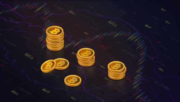財務投資のconcの株式市場または外国為替取引のグラフィックスデザインのキャンドルスティック
