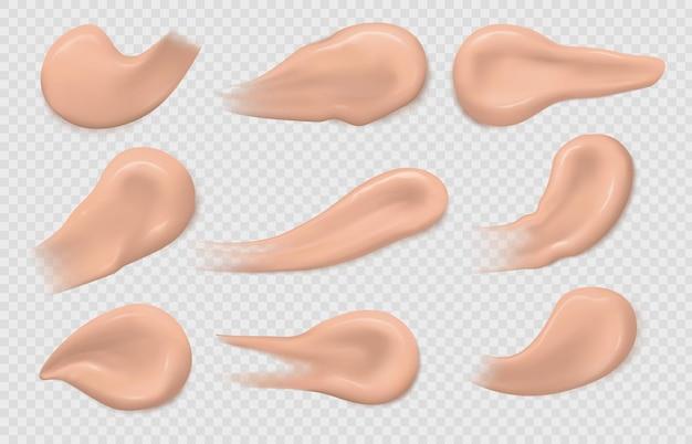 컨실러 번짐. 현실적인 피부 기초 스트로크 텍스처입니다. 메이크업 얼룩 견본, 화장품 베이스 톤 크림 샘플 3d 격리된 벡터 세트