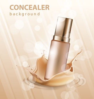 Concealer stick ads, 3d illustration foundation product with liquid foundation texture splashes in the air.