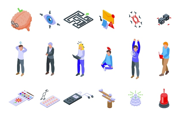 Concentration icons set isometric vector. yoga meditate