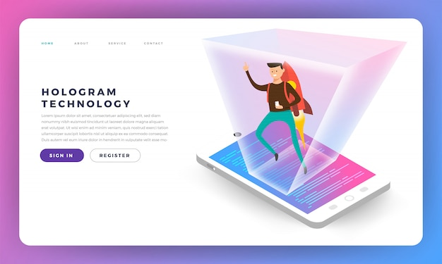 Concepr isometric hologram.  illustrations.