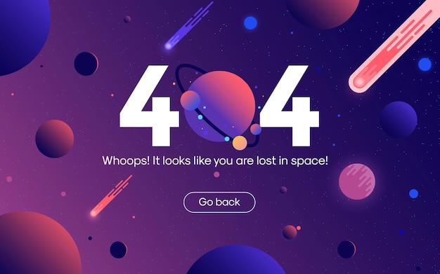 The concept of 404 error web page open space between different planets