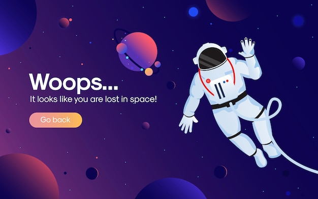 The concept of 404 error web page with astronaut in the open space between different planets