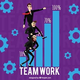Концепция совместной работы, фиолетовый фон