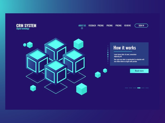 Concept of abstract data memory blocks, server room, hosting website page
