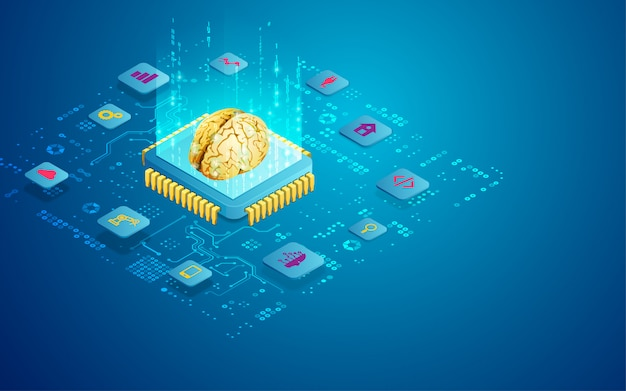 Concept of ai technology as microchip with brain