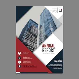 Concept for annual report template with photo
