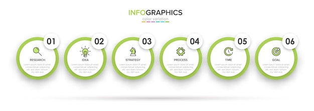 Concept of arrow business model with successive steps. six colorful graphic elements. timeline