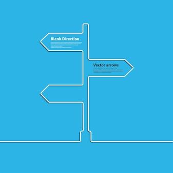 Il segno della freccia del concetto di scegliere la direzione dell'incrocio stradale. vettore