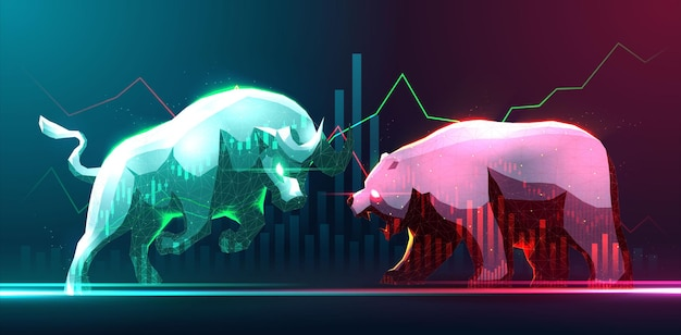 Concept art of bullish and bearish in stock market or forex trading